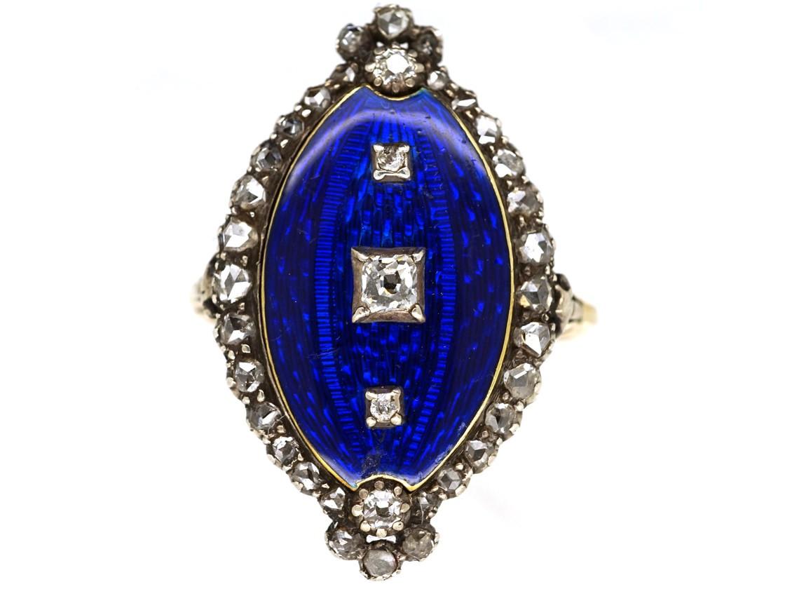 Georgian Royal Blue Enamel Amp Diamond Navette Shaped Ring