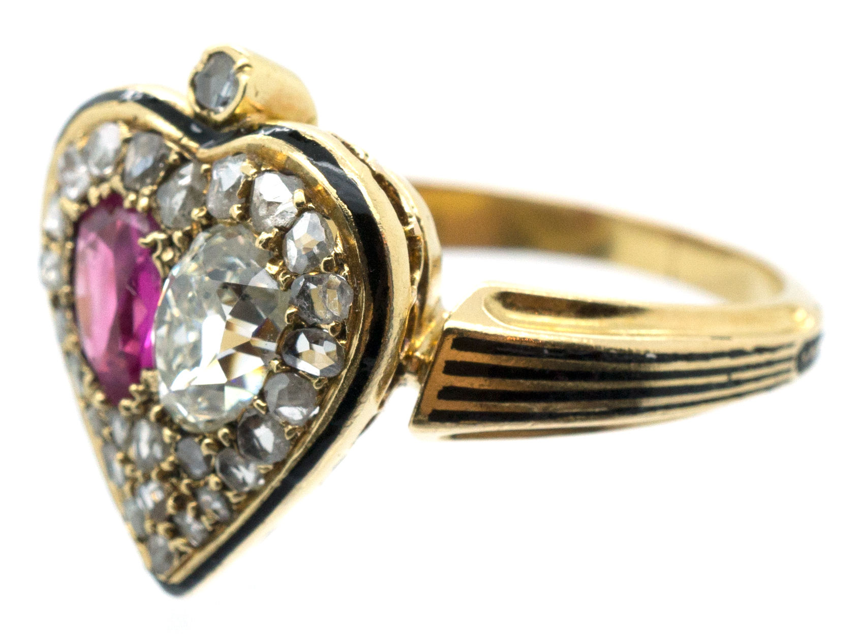 Victorian 18ct Gold Diamond Amp Ruby Double Heart Ring
