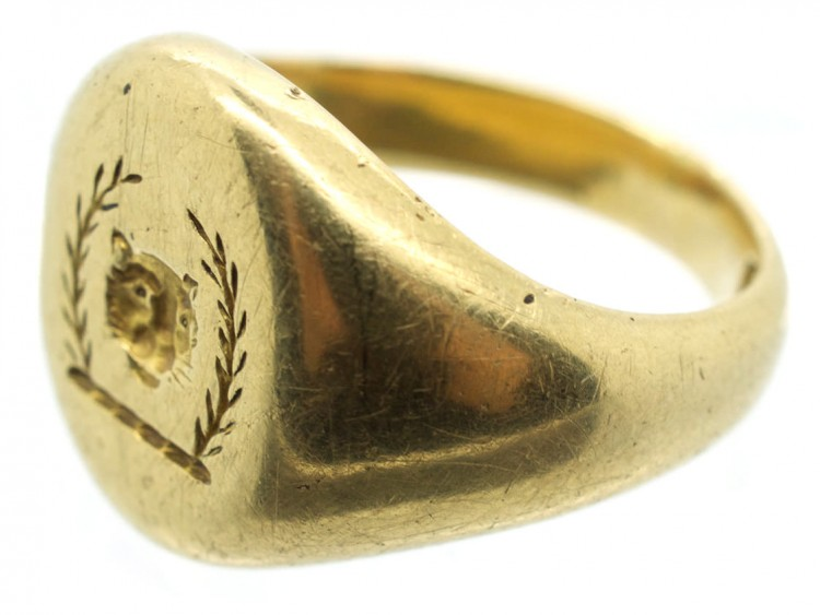 Victorian 18ct Gold Signet Ring With Lion S Head Amp Laurel