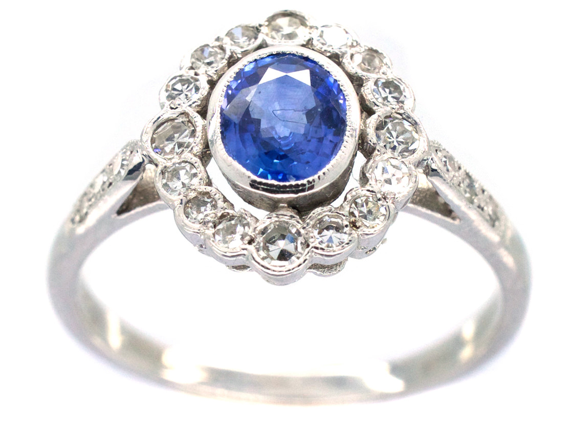 Ceylon Sapphire Amp Diamond Cluster Ring With Diamond