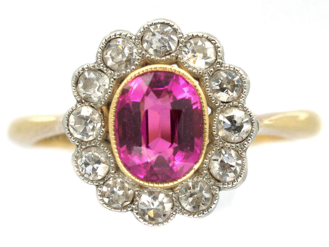 Edwardian Pink Sapphire Amp Diamond Cluster Ring The