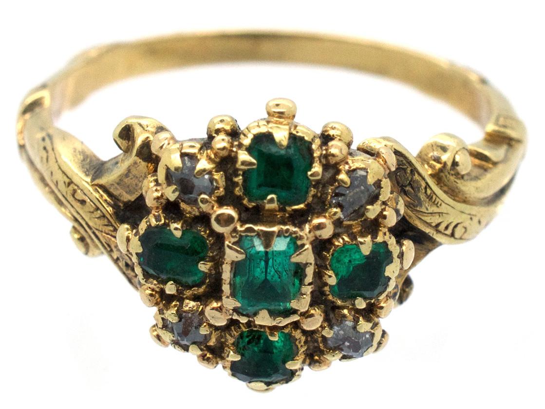 Georgian 18ct Gold Emerald Amp Diamond Ring The Antique