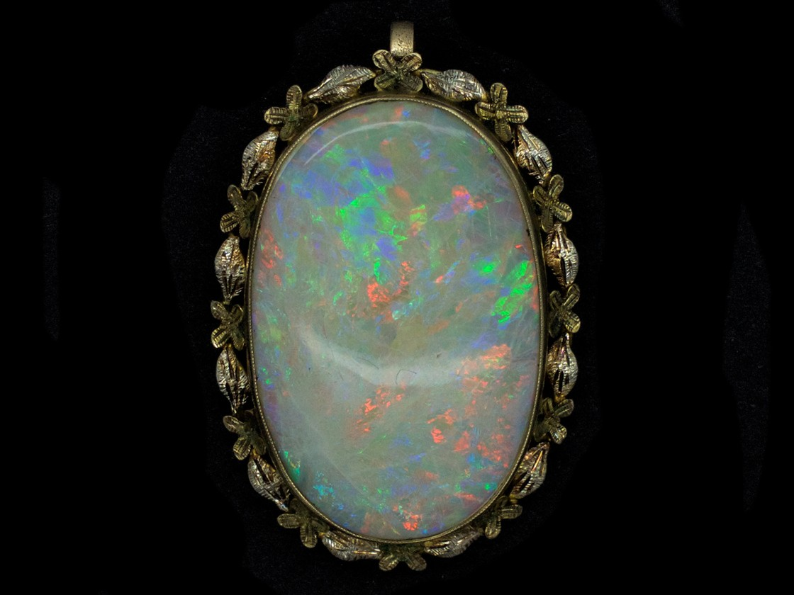 Large Oval Opal 15ct Gold Pendant The Antique Jewellery