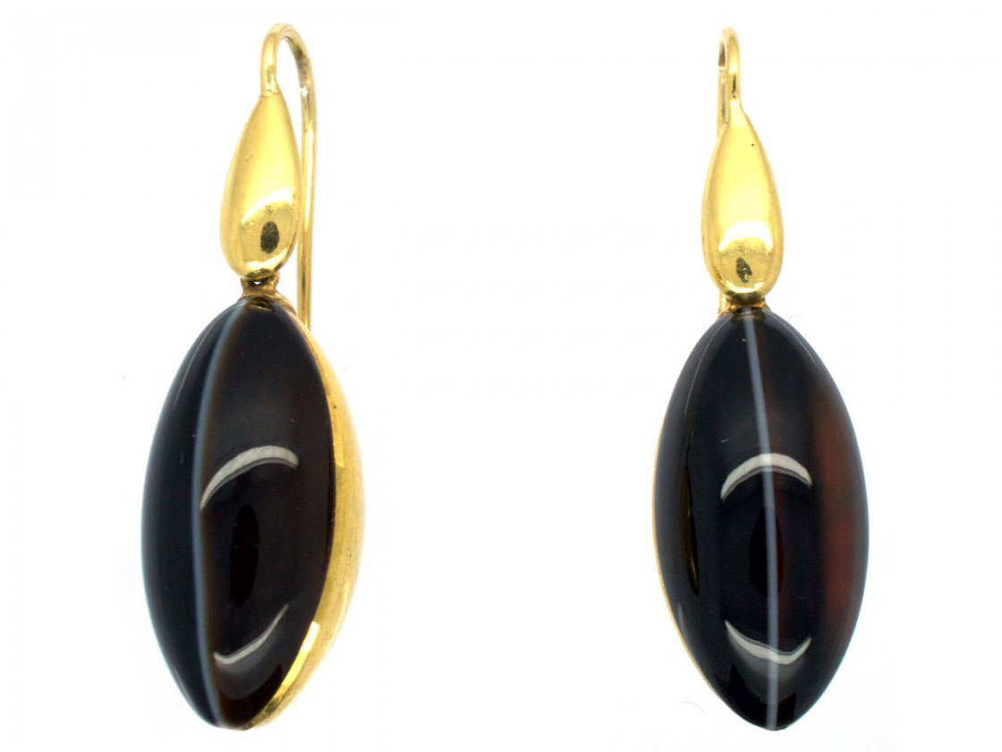 Victorian 18ct Gold Amp Banded Onyx Drop Earrings The