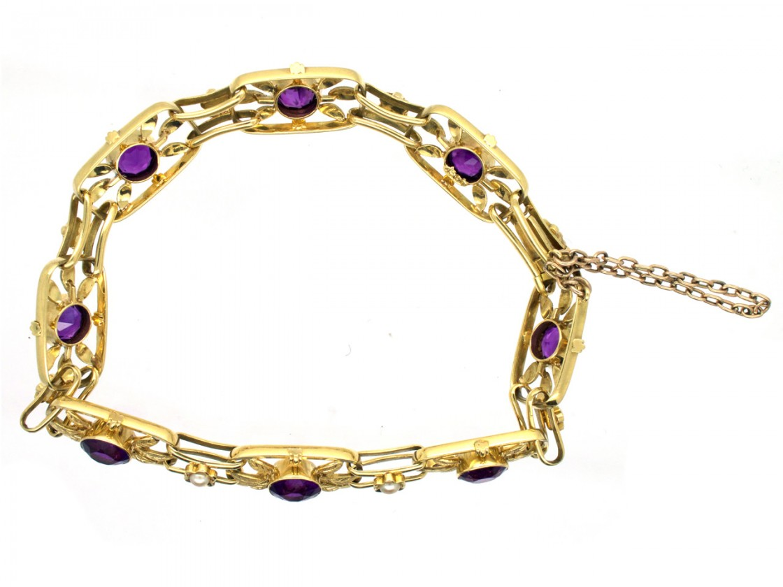 Edwardian 15ct Gold Amethyst Amp Pearl Bracelet The