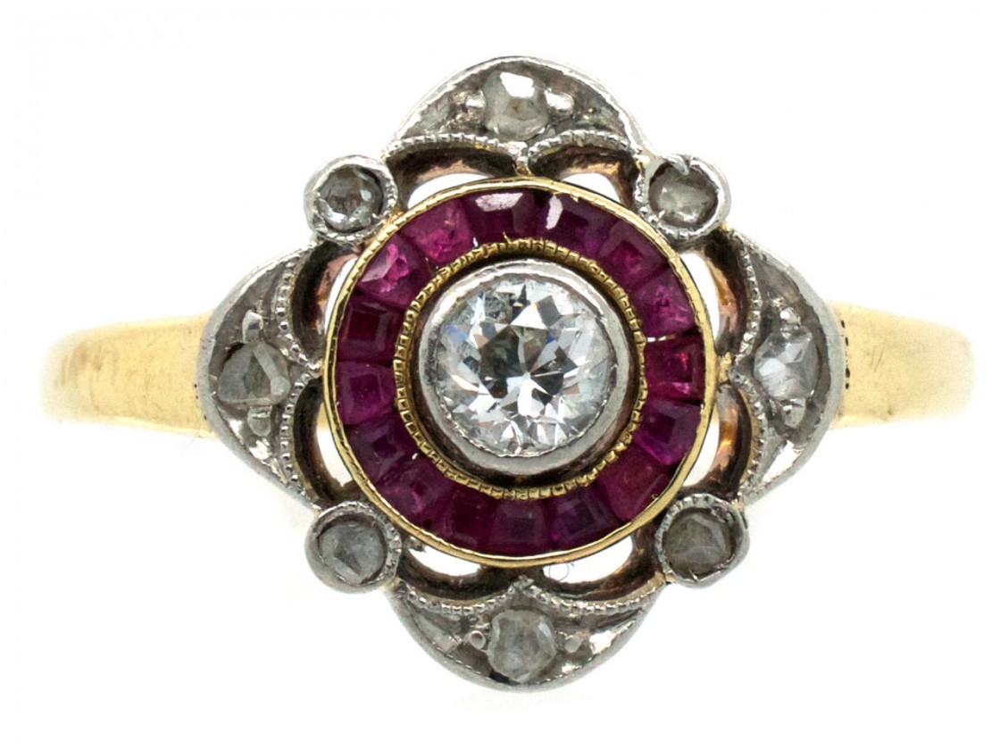 Art Deco Ruby Amp Diamond Target Ring The Antique