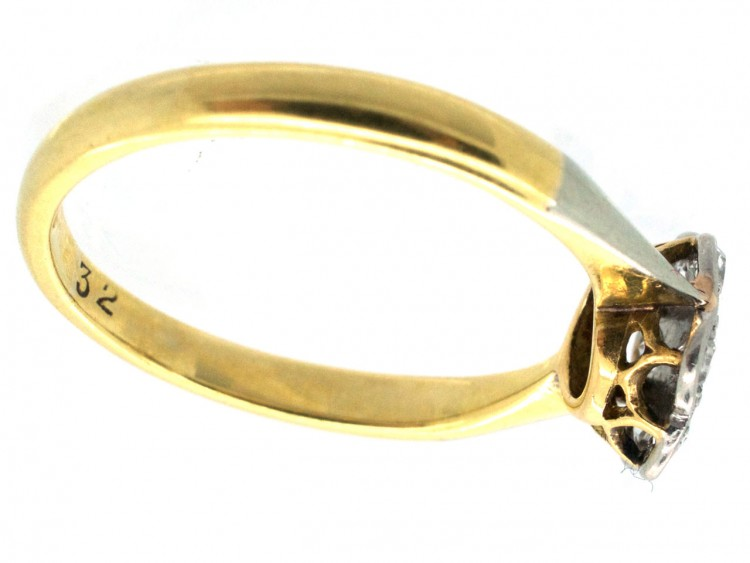 Edwardian 18ct Gold Amp Platinum Diamond Set Daisy Ring