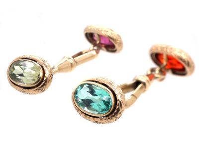 Edwardian Gold Multi Stone Cufflinks