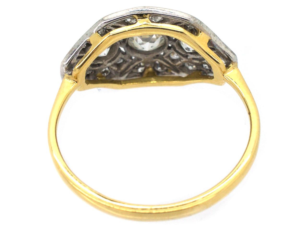 18ct white gold platinum octagonal ring the