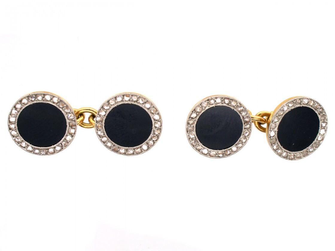 18ct gold platinum art deco rose diamond onyx round for Deco maison rose gold