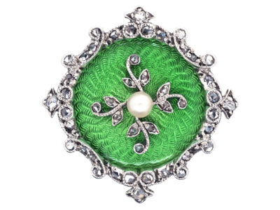 Edwardian 15ct Gold, Green Enamel, Natural Pearl & Diamond Brooch