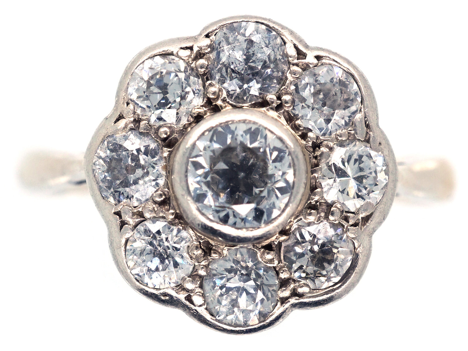 Large 18ct Gold Amp Platinum Diamond Daisy Cluster Ring