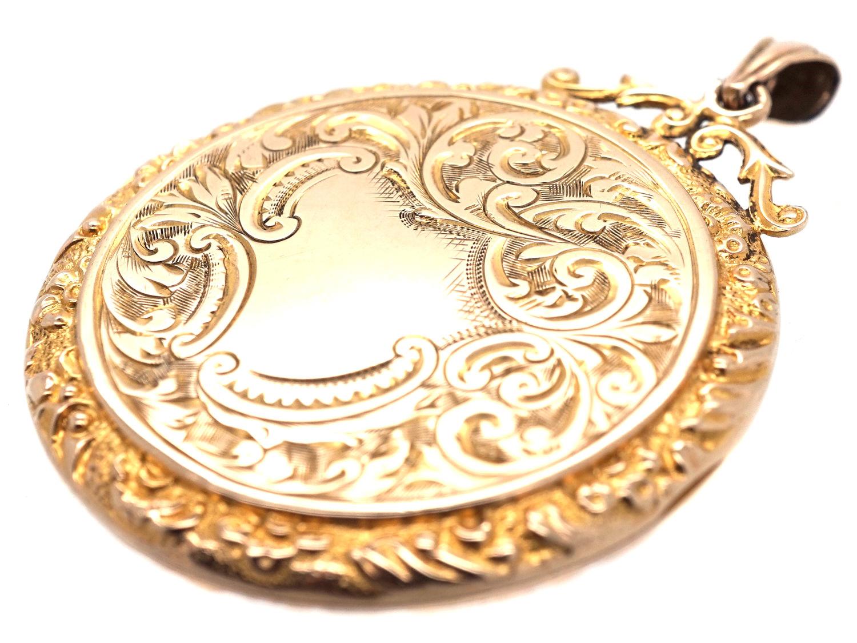 9ct Gold Large Round Locket Pendant The Antique