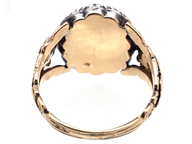 Georgian 18ct Gold Rose Diamond Amp Hardstone Cameo Ring