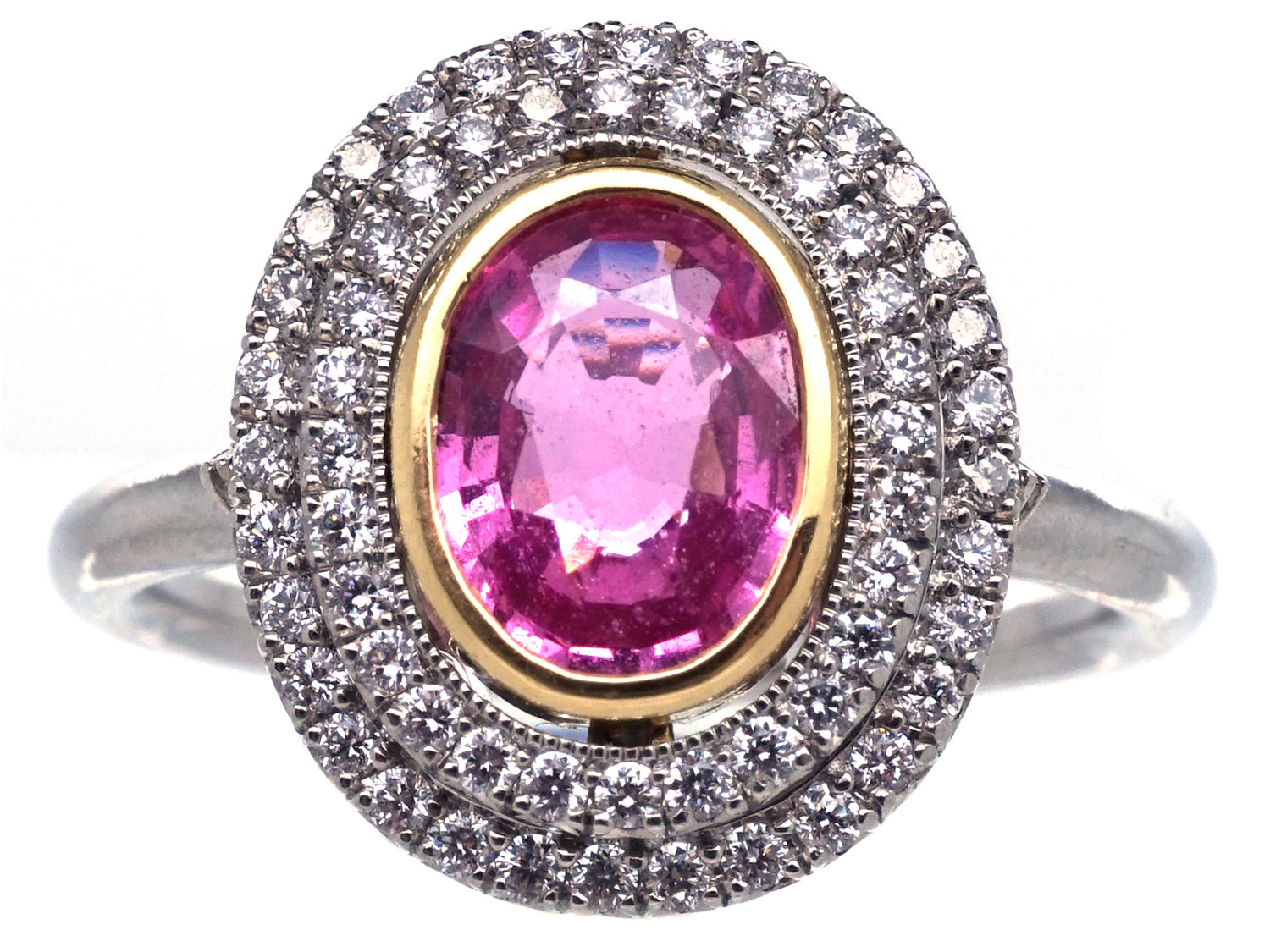 Platinum, Pink Sapphire & Diamond Oval Cluster Ring - The ...
