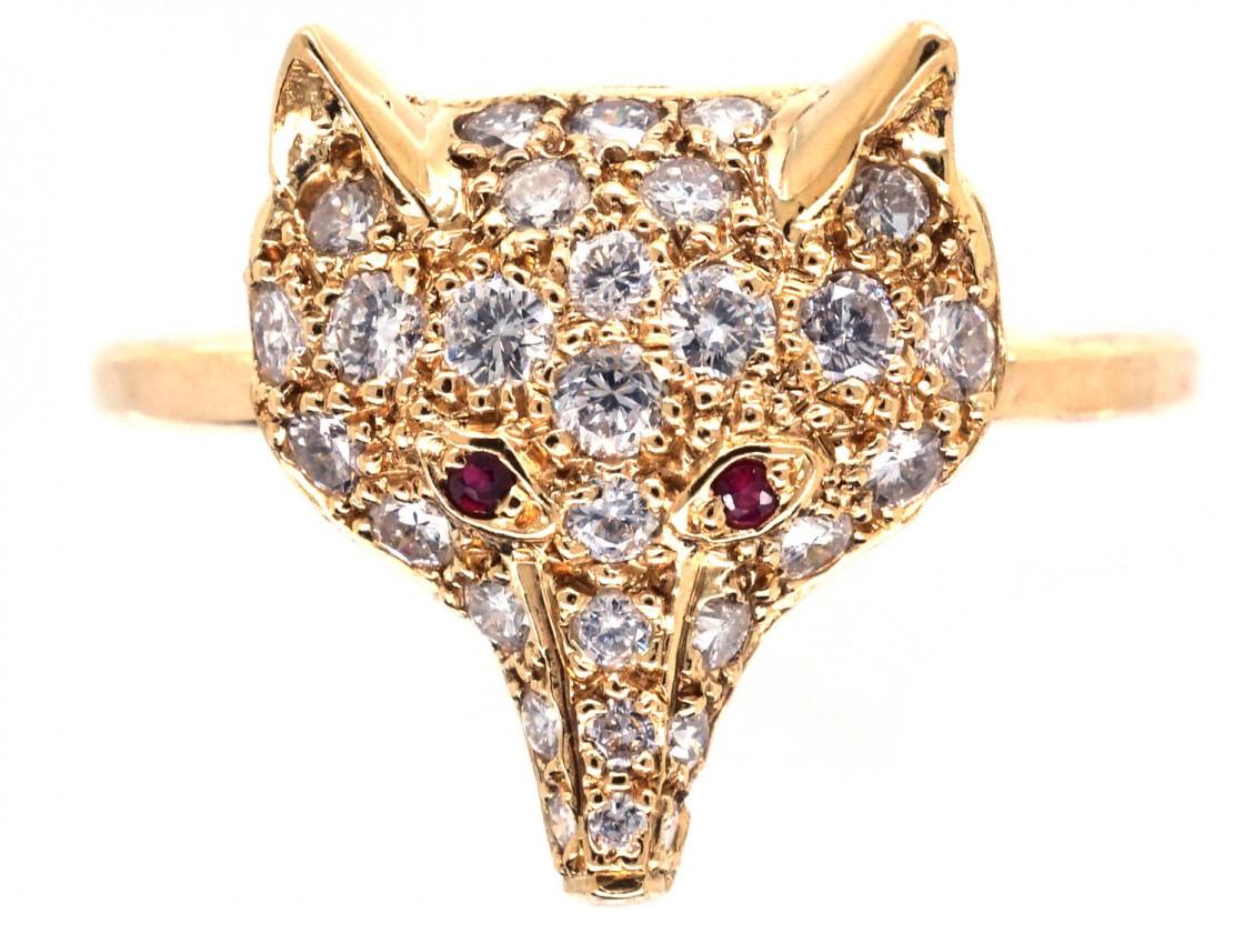 18ct Gold Amp Diamond Fox Head Ring The Antique Jewellery