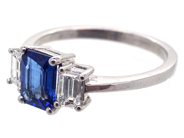 Platinum Sapphire Amp Diamond Baguette Ring The Antique