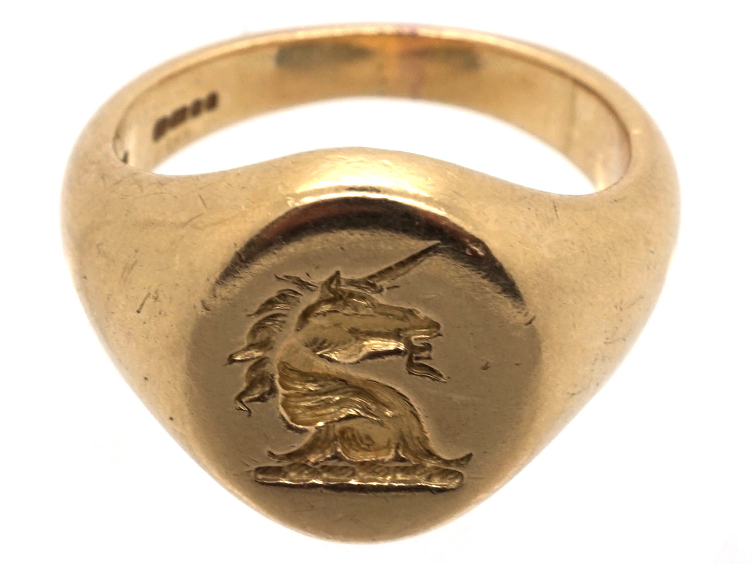 18ct Gold Signet Ring Retailed By Cartier With Unicorn