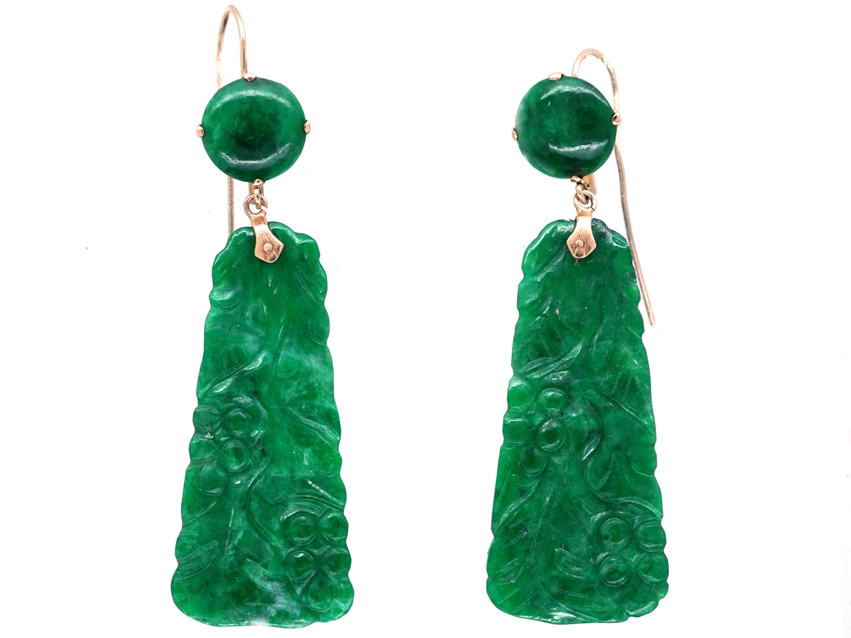 Art Deco Carved Jade Drop Earrings The Antique Jewellery