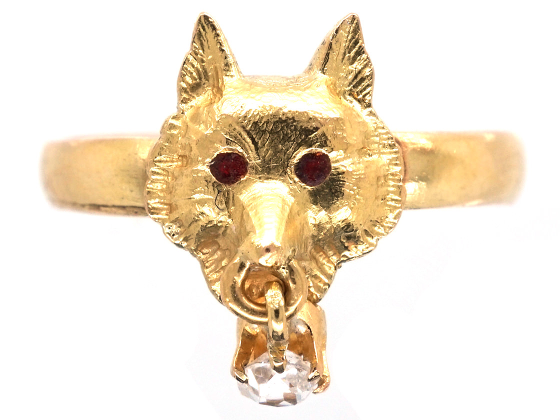 Wolf S Head 18ct Gold Ring The Antique Jewellery Company