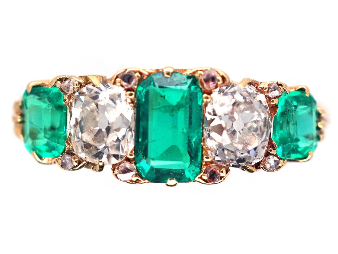 Victorian 18ct Gold Emerald Amp Diamond Five Stone Carved