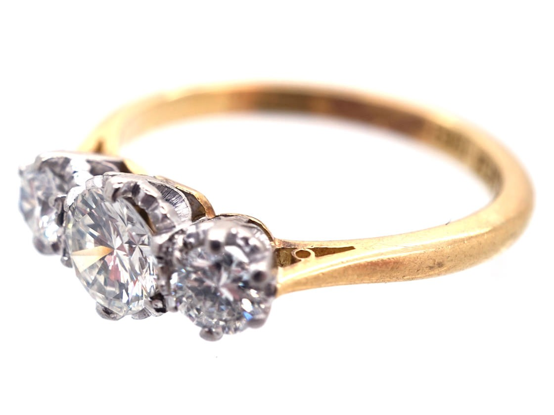 18ct Gold Amp Platinum Three Stone Diamond Ring The