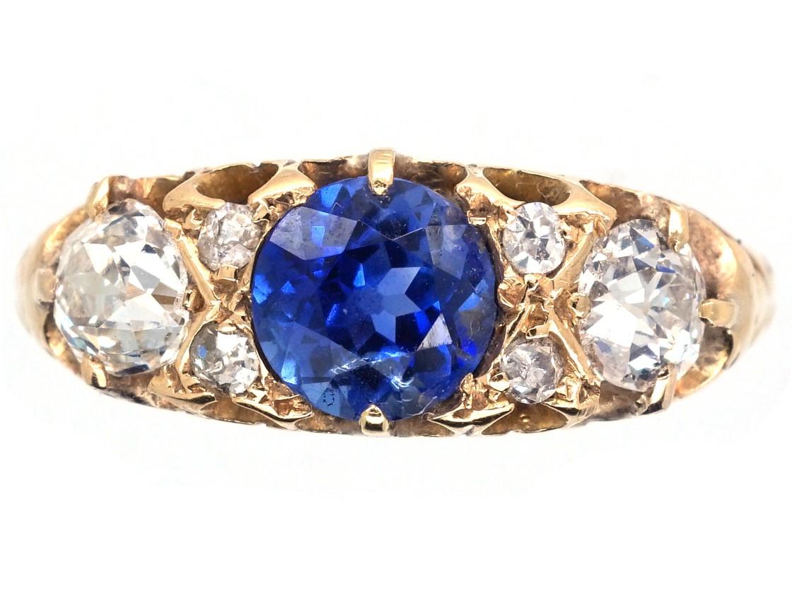 Victorian 18ct Gold Sapphire Amp Diamond Three Stone Ring