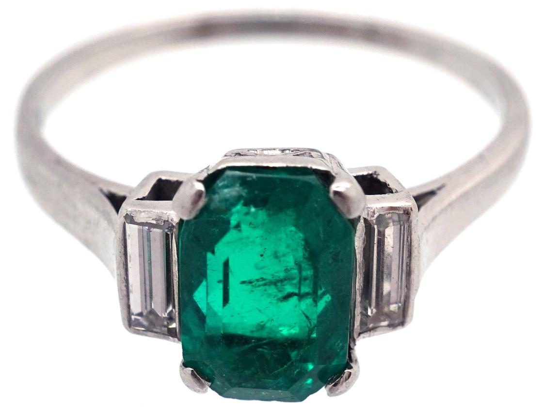 Art Deco Rectangular Emerald Amp Baguette Diamond Ring The