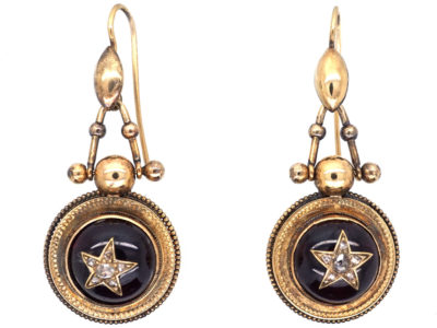Victorian 15ct Gold Drop Earrings with Cabochon Garnet & Diamond Detail