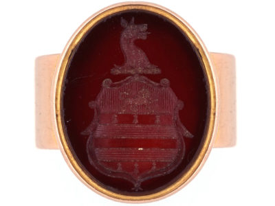 Victorian 15ct Gold & Carved Carnelian Crest Intaglio Signet Ring