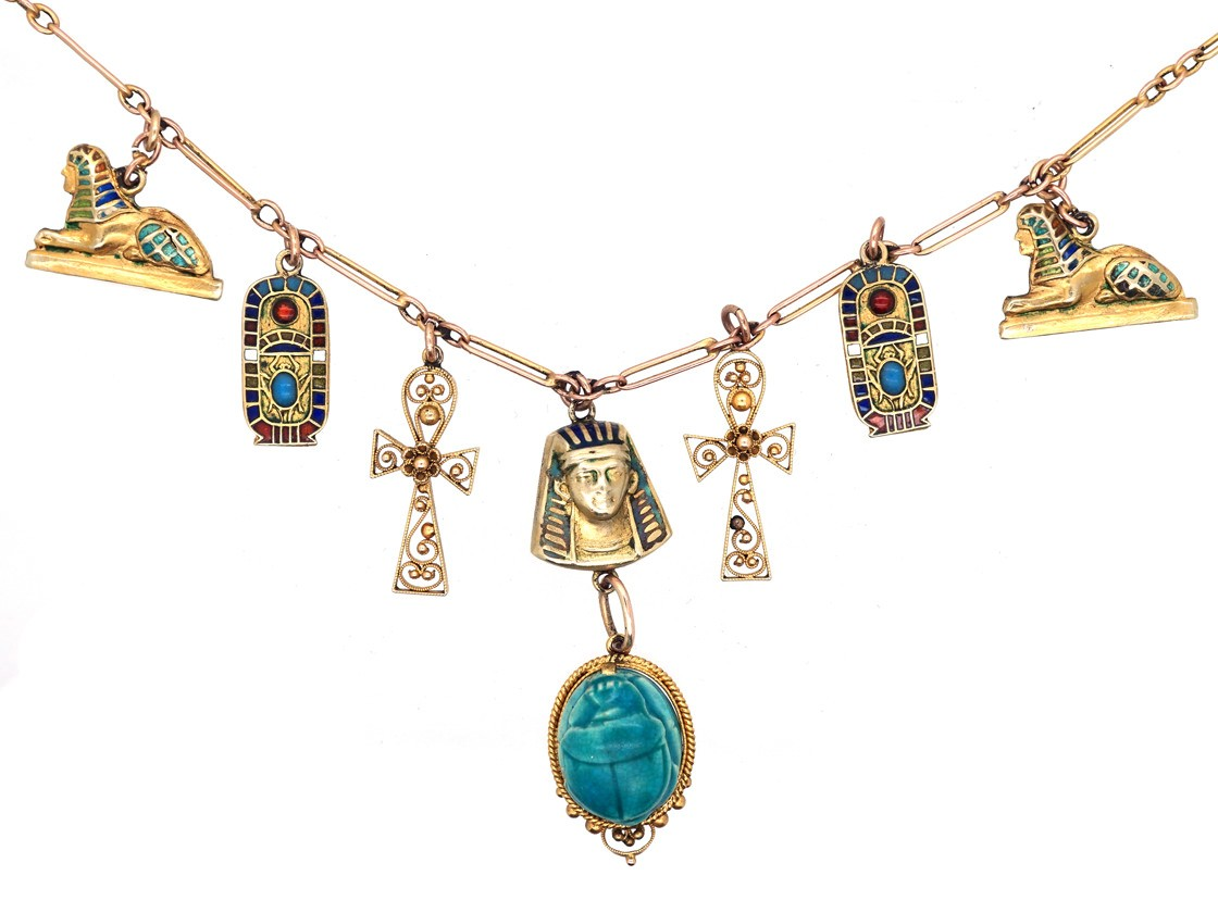 Art Deco 9ct Gold Amp Enamel Egyptian Revival Necklace The