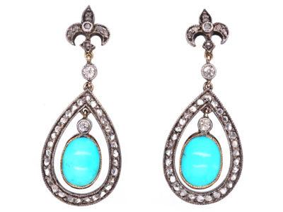 Edwardian Turquoise & Rose Diamond Drop Earrings