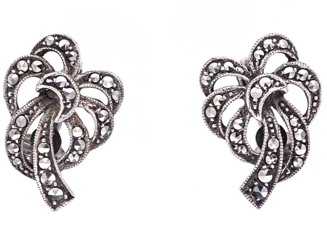 Silver Marcasite Clip On Bow Earrings