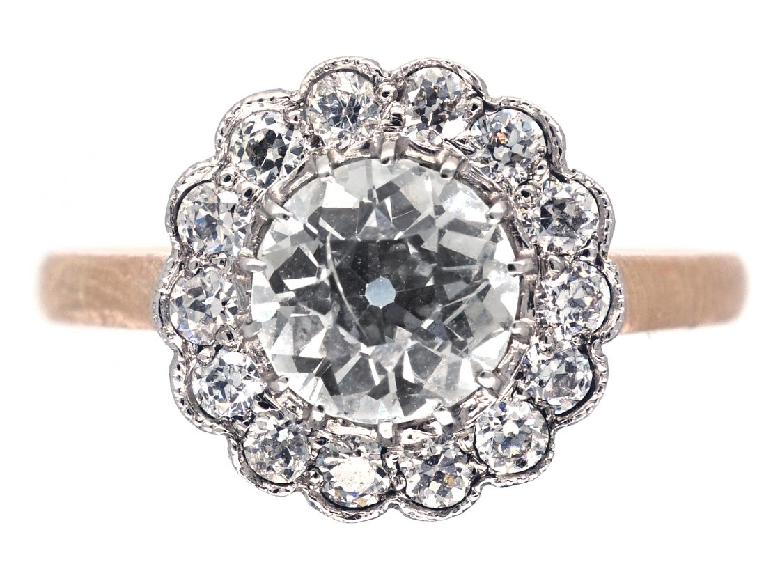 Edwardian 18ct Gold Platinum Amp Diamond Daisy Cluster Ring