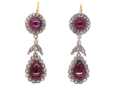 Cabochon Garnet & Rose Diamond Drop Earrings