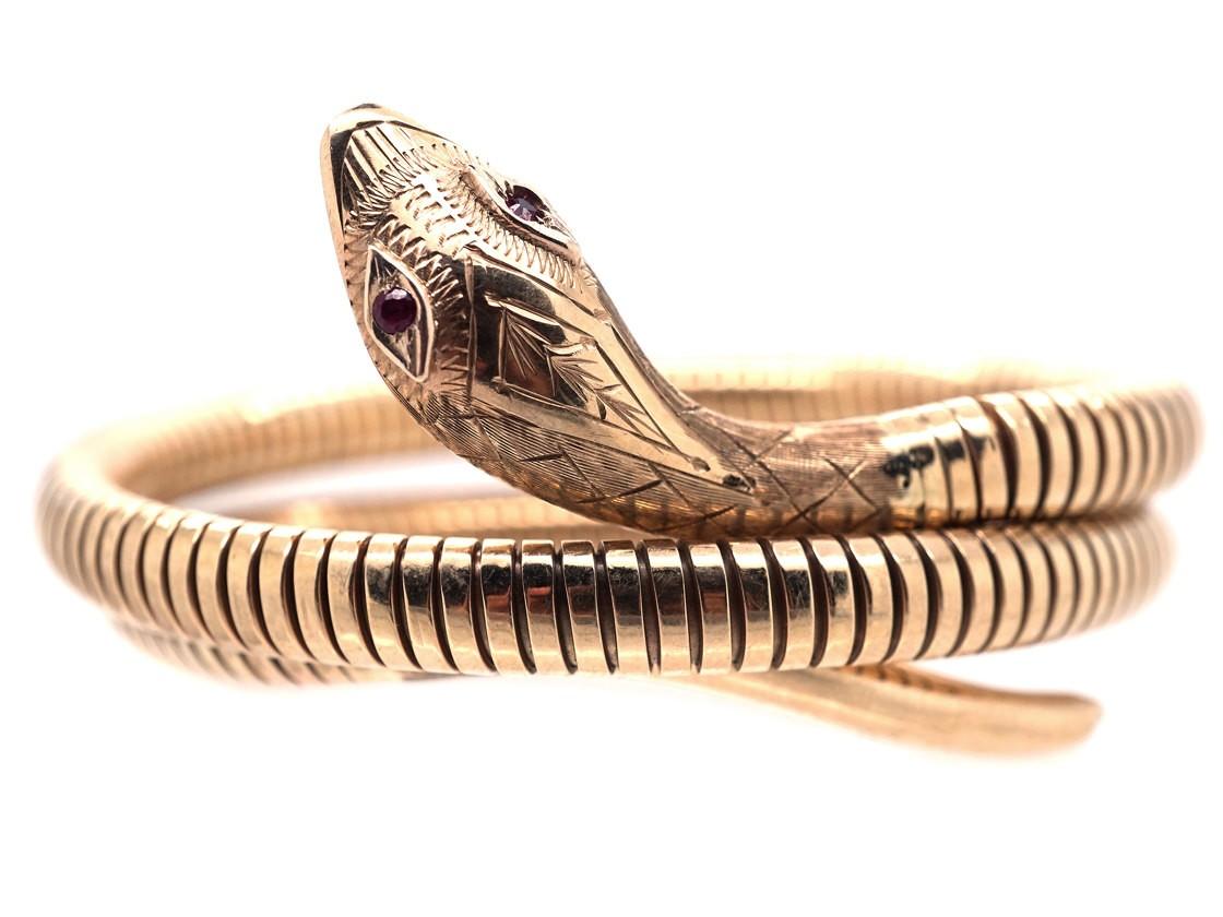 1960s 9ct Gold Coily Snake Bracelet