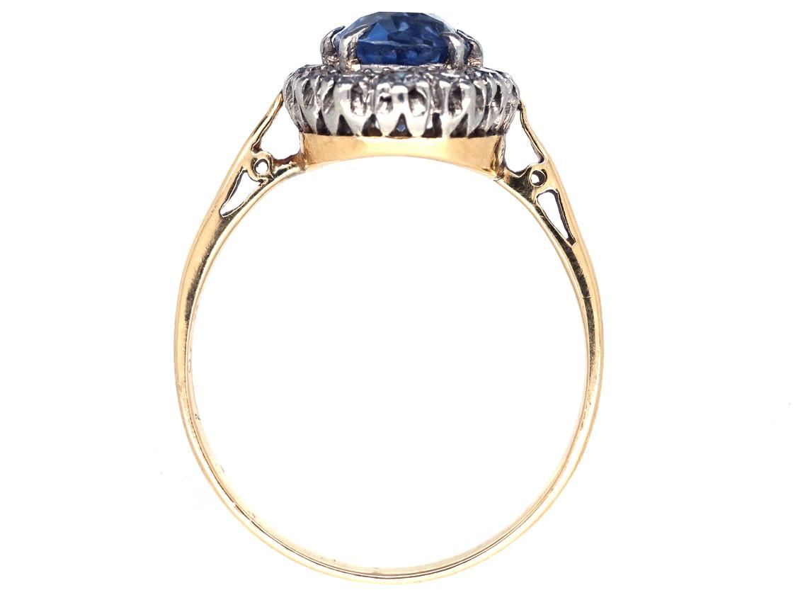Ceylon Sapphire & Diamond Oval Cluster Ring - The Antique ...