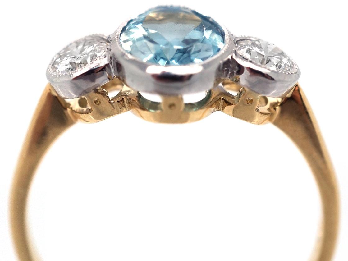 18ct Yellow Amp White Gold Aquamarine Amp Diamond Three Stone