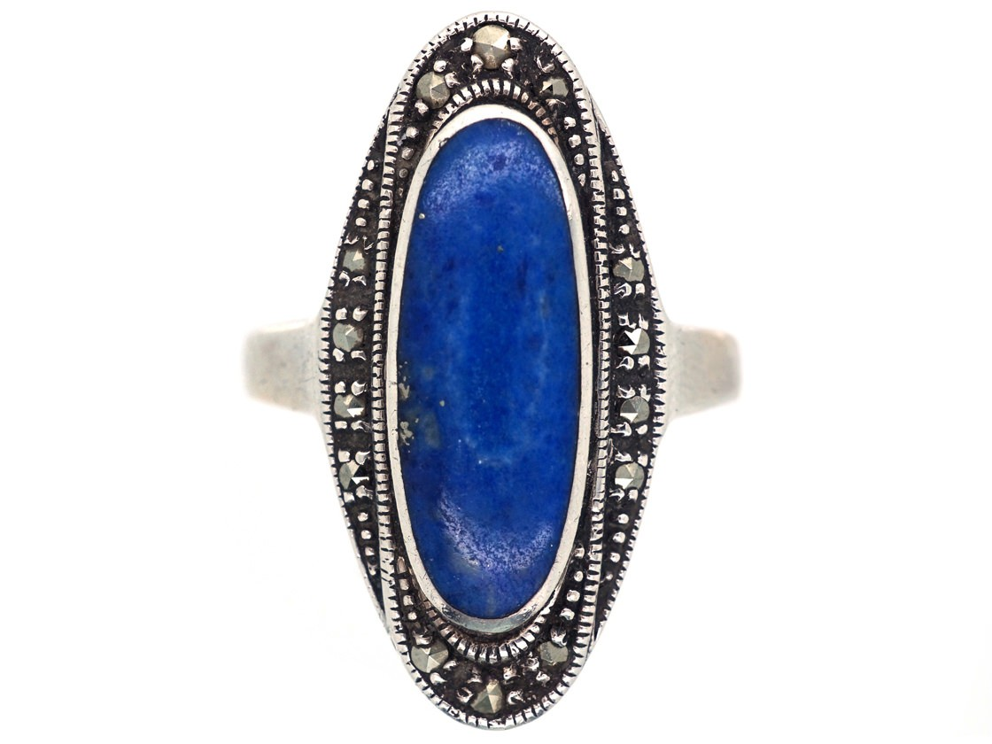 Art Deco Silver Marcasite Amp Lapis Lazuli Ring The