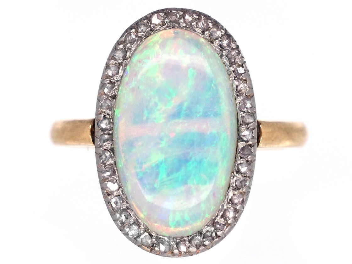 Edwardian 18ct Gold Oval Diamond Amp Opal Cluster Ring