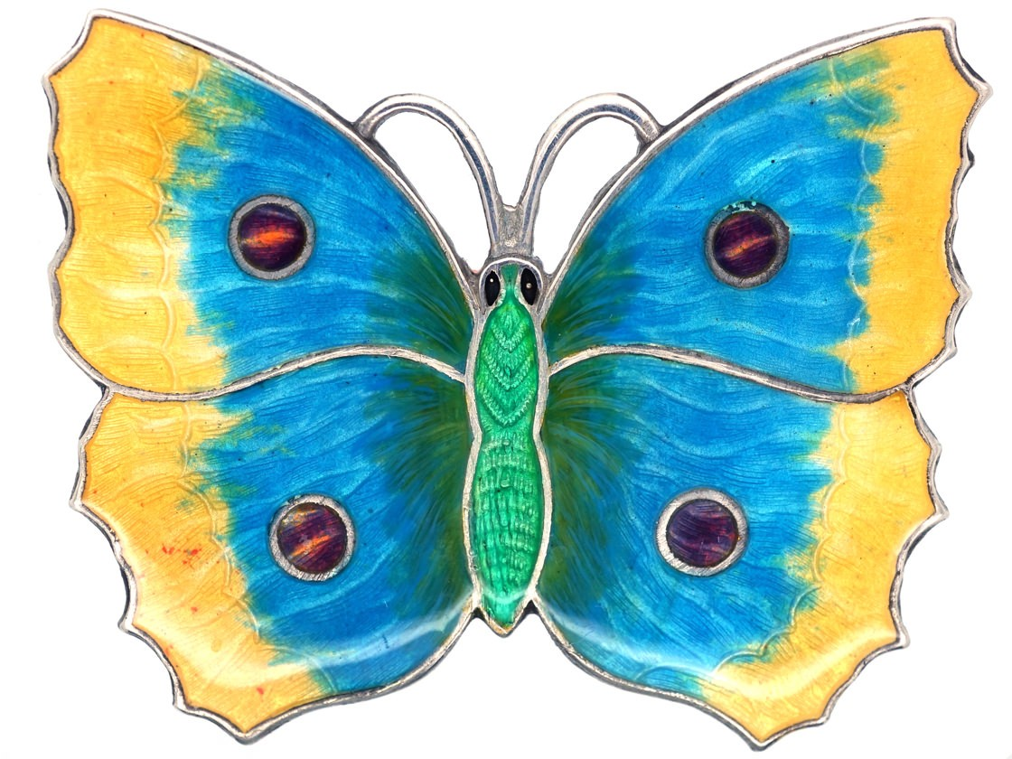 Large Green Mauve Amp Yellow Enamel Butterfly Brooch The