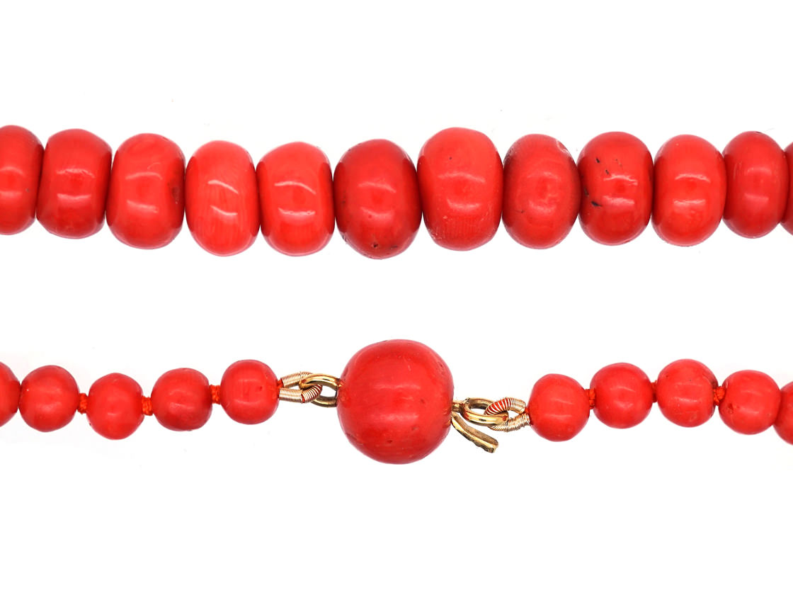 Victorian Natural Red Coral Bead Necklace The Antique