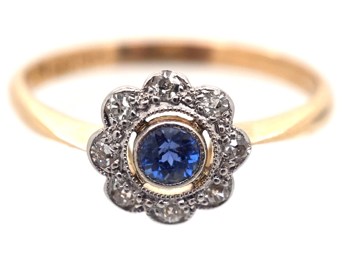 Sapphire And Diamond Daisy Ring