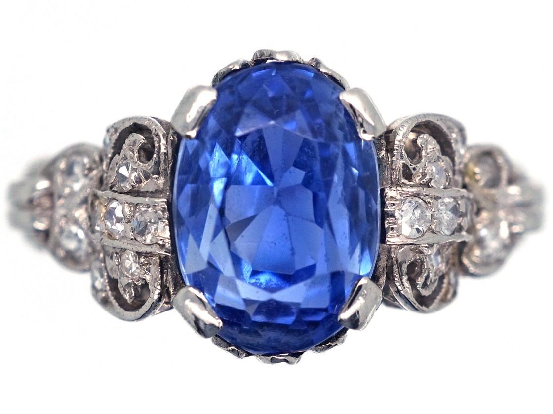 Ceylon Sapphire Platinum Amp Diamond Ring The Antique