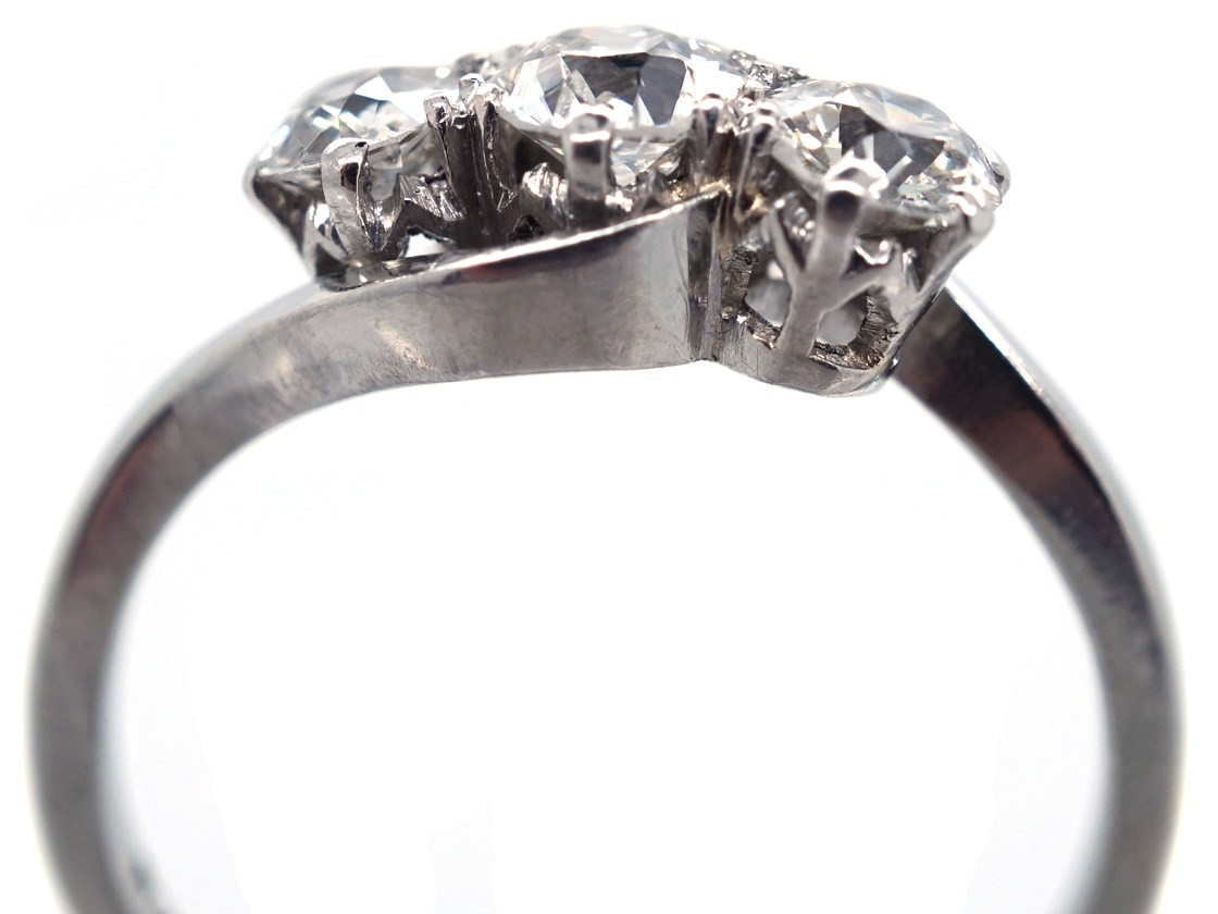 Platinum Amp Diamond Three Stone Crossover Ring The
