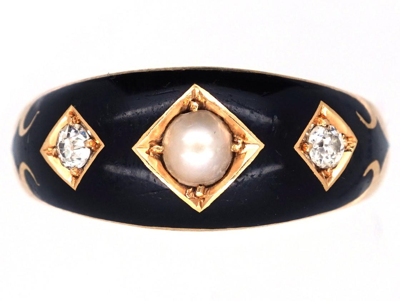 Victorian 18ct Gold Diamond Natural Split Pearl Amp Enamel