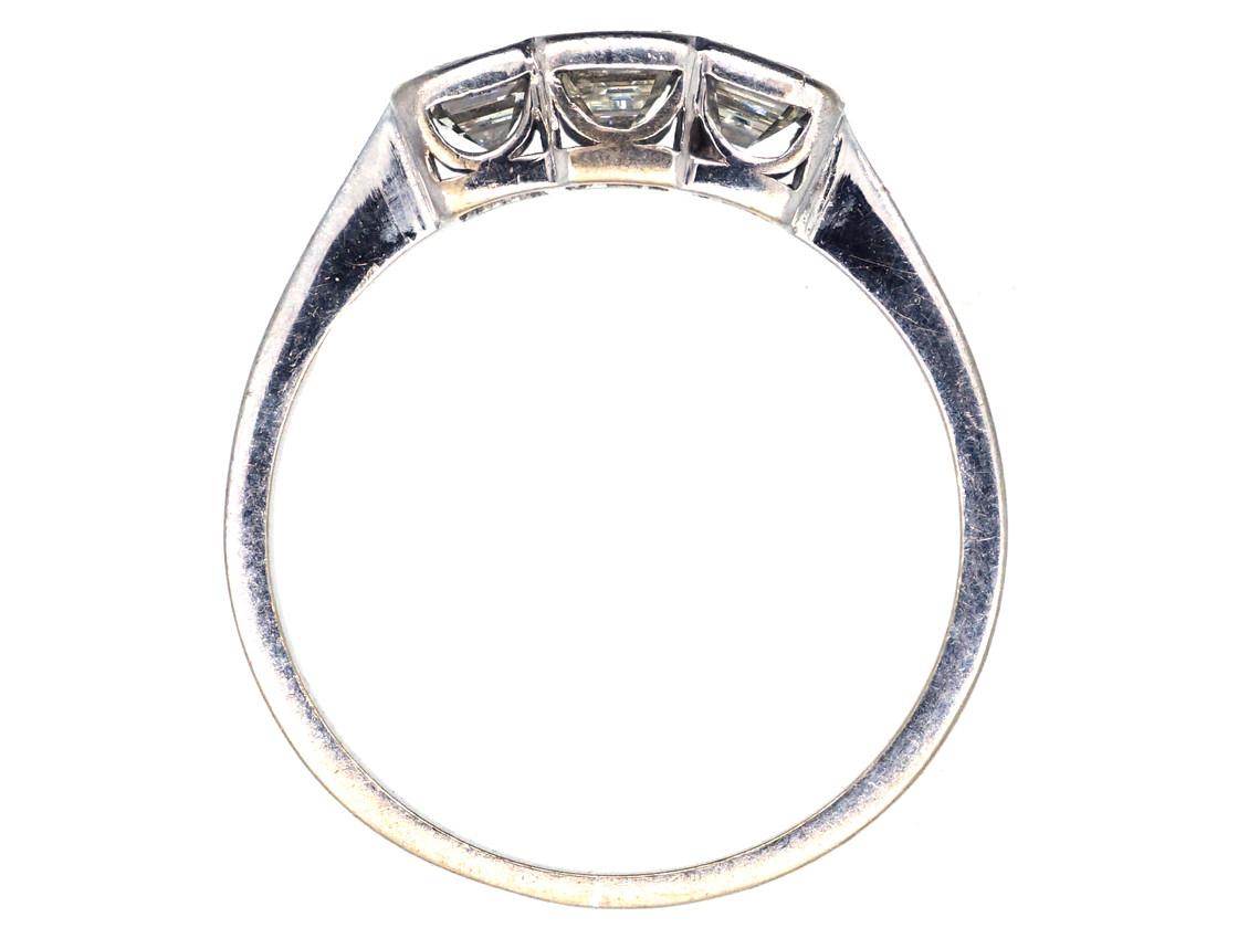 Art Deco 18ct White Gold Emerald Cut Three Stone Diamond