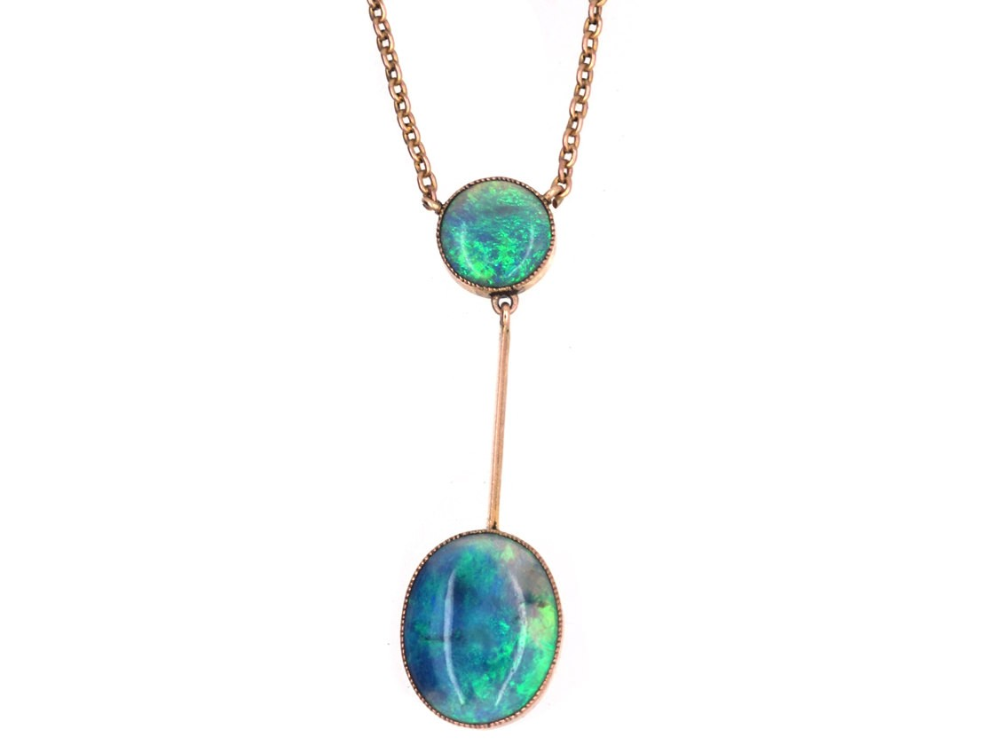 Edwardian 9ct gold pendant with two black opal drops on a 9ct gold edwardian 9ct gold pendant with two black opal drops on a 9ct gold chain mozeypictures Gallery