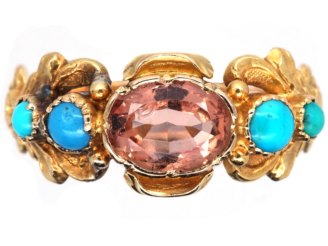 Georgian 18ct Gold Turquoise Amp Topaz Ring The Antique