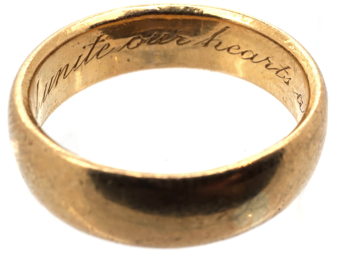 Wedding Ring Inscriptions 18ct Gold Wedding Ring With Inscription Inside The Antique Jewellery